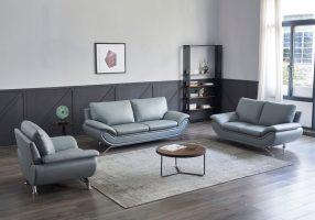 Dallas Modern Leather Sofa Set Grey   matisseco