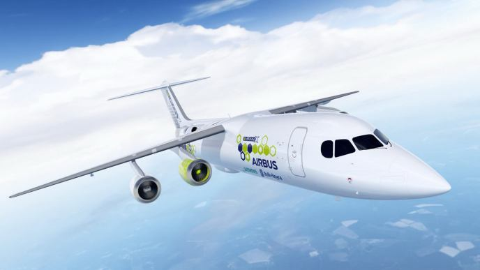 Figure 2: The E-Fan X hybrid-electric flight demonstrator, a joint project between Airbus, Siemens and Rolls-Royce which will have one of the four gas turbine engines replaced by a 2 MW electric motor. It is planned to fly by 2020 [12].