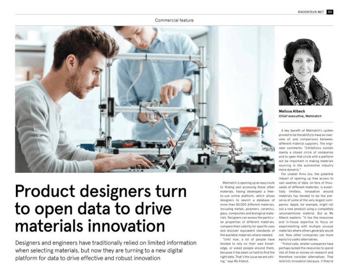 Today, Raconteur released a new report in The Times on The Future of Engineering. Matmatch is delighted to be featured as we discuss the importance of materials selection in driving innovation in engineering and product design.