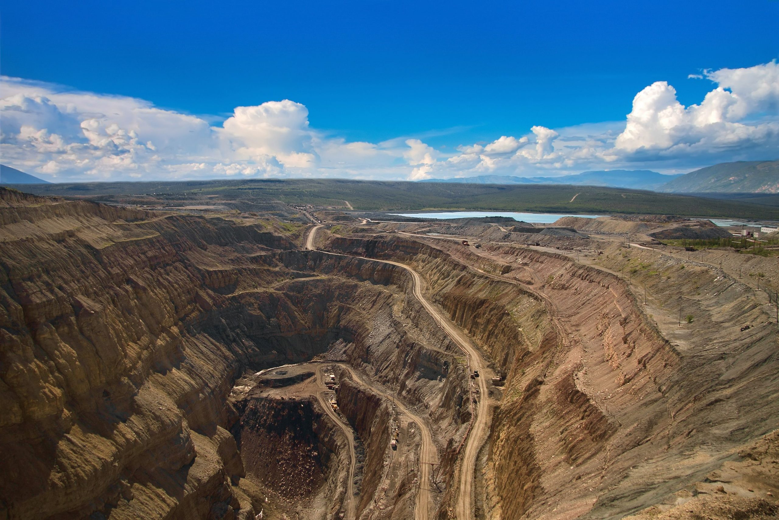 Aerial view of a diamond mine