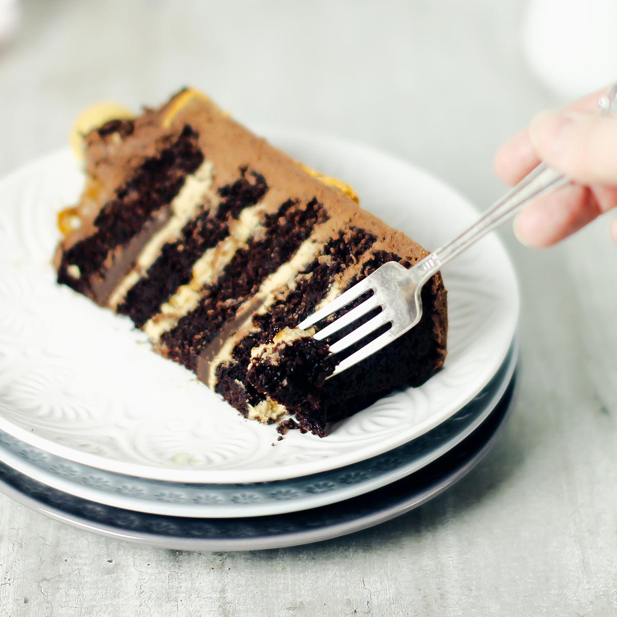 Saftig mørk sjokoladekake med sjokladekrem