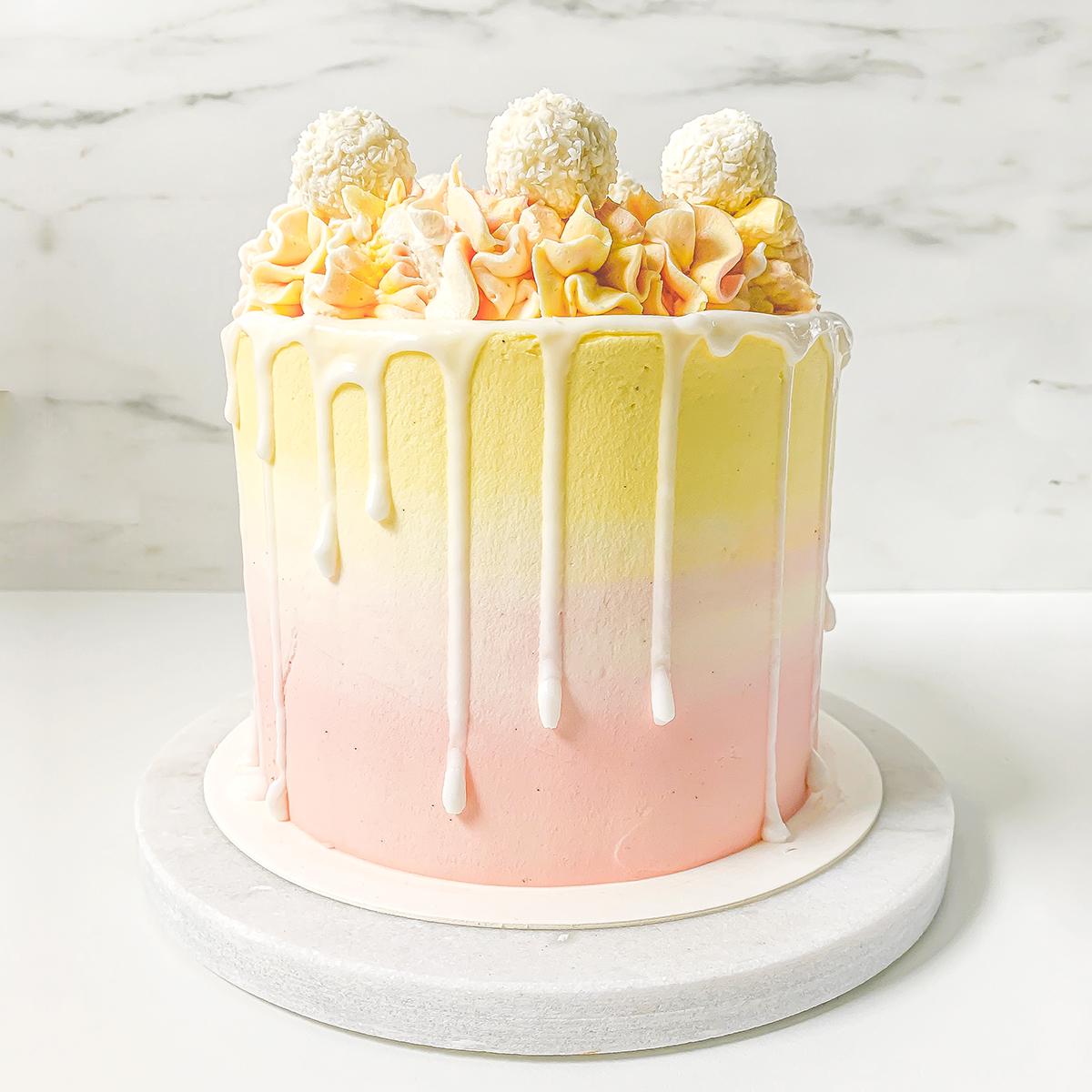 kake med sitron, kokos og bringebær