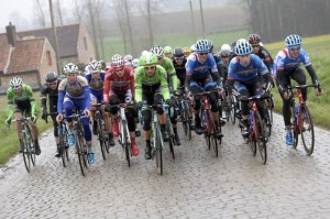 Front of the Peloton during last year's Omloop het Nieuwsblad