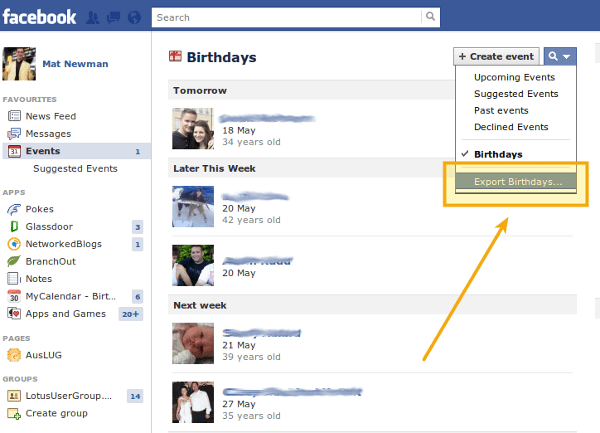 Add Facebook to Lotus Notes Calendar Step 2