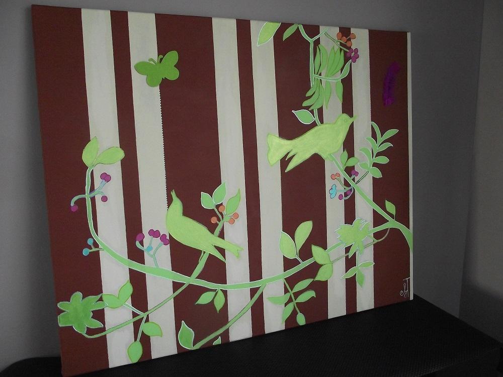 Birds paradise Tableau fluorescent pour dcoration enfant
