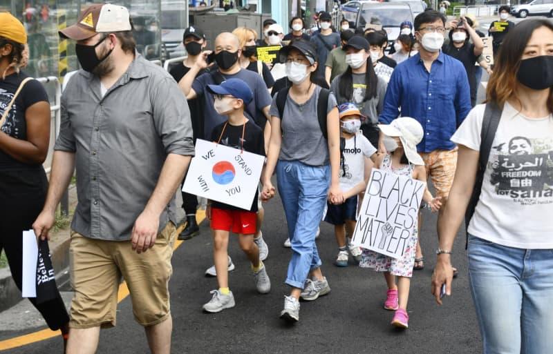【黒人暴行死】韓国人、ソウルでデモ行進「私も人種的マイノリティー」
