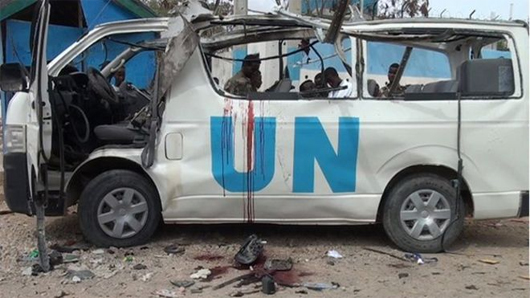 The UN van in which the victims were travelling.