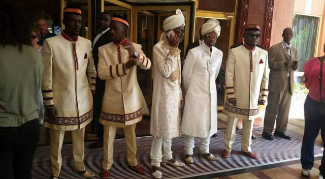 The groom and his boys leaving Kampala Serena Hotel.