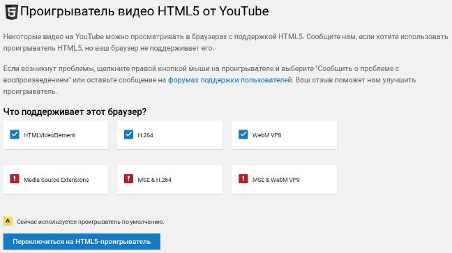 YouTube с помощью flash-проигрывателя