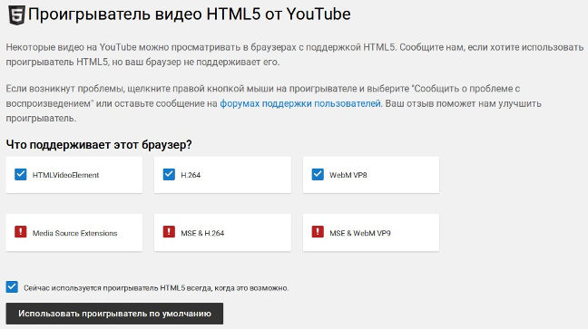 YouTube с помощью HTML5-проигрывателя