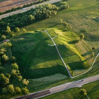 Aerial view of Monk's Mound at Cahokia