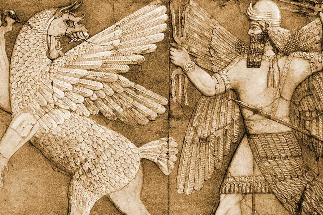 A bas-relief thought to be of Marduk and Tiamat from a temple at Nimrud dates the legend to at least the reign of Ashurnasirpal II (883–859 BCE)