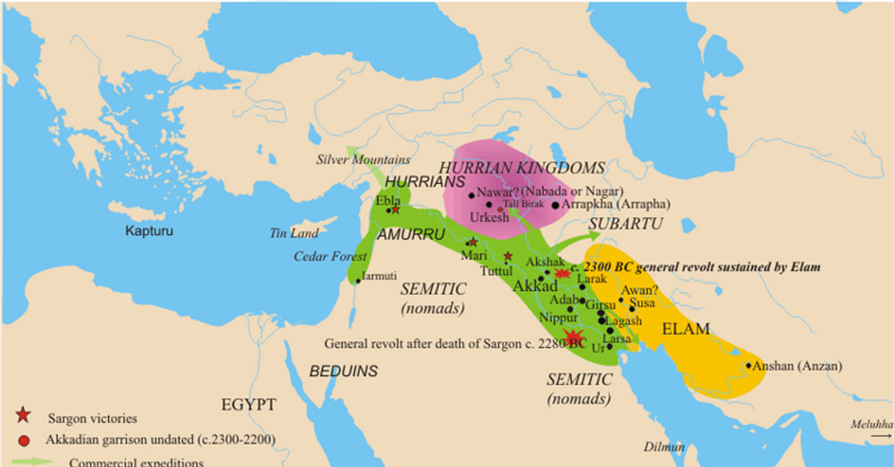 Akkadian Empire map c. 2350–2230 BCE