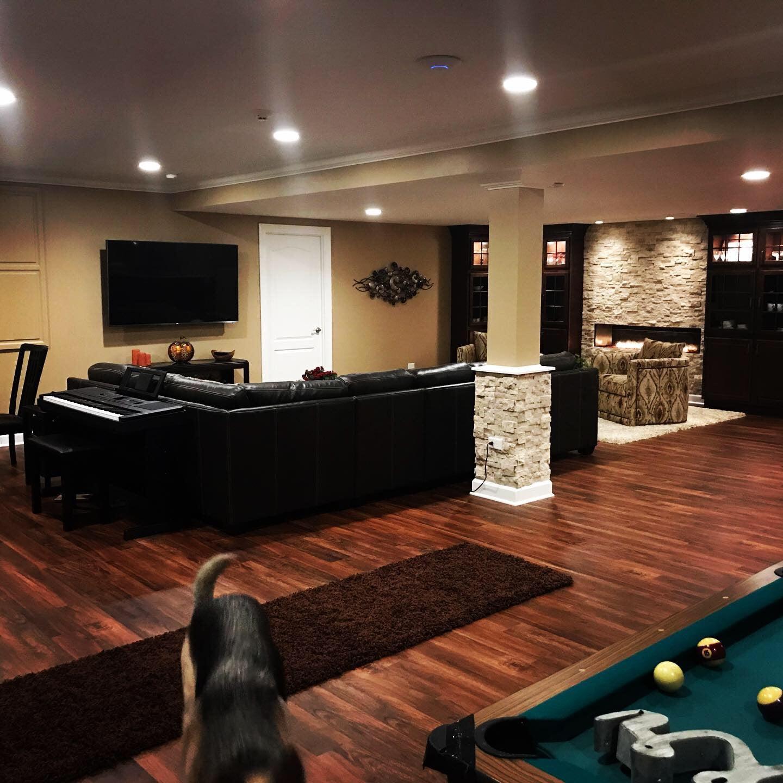 Pool table, basement, living room, spacious