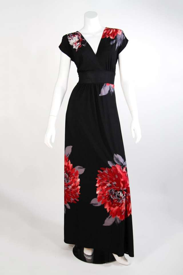 Black Red Flower Veronica Lake Maxi Dress