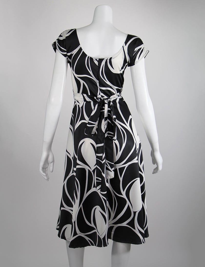 Back - Black and White Abstract Stevie Dress