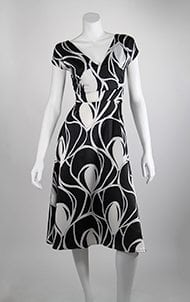 Front - Black and White Abstract Stevie Dress