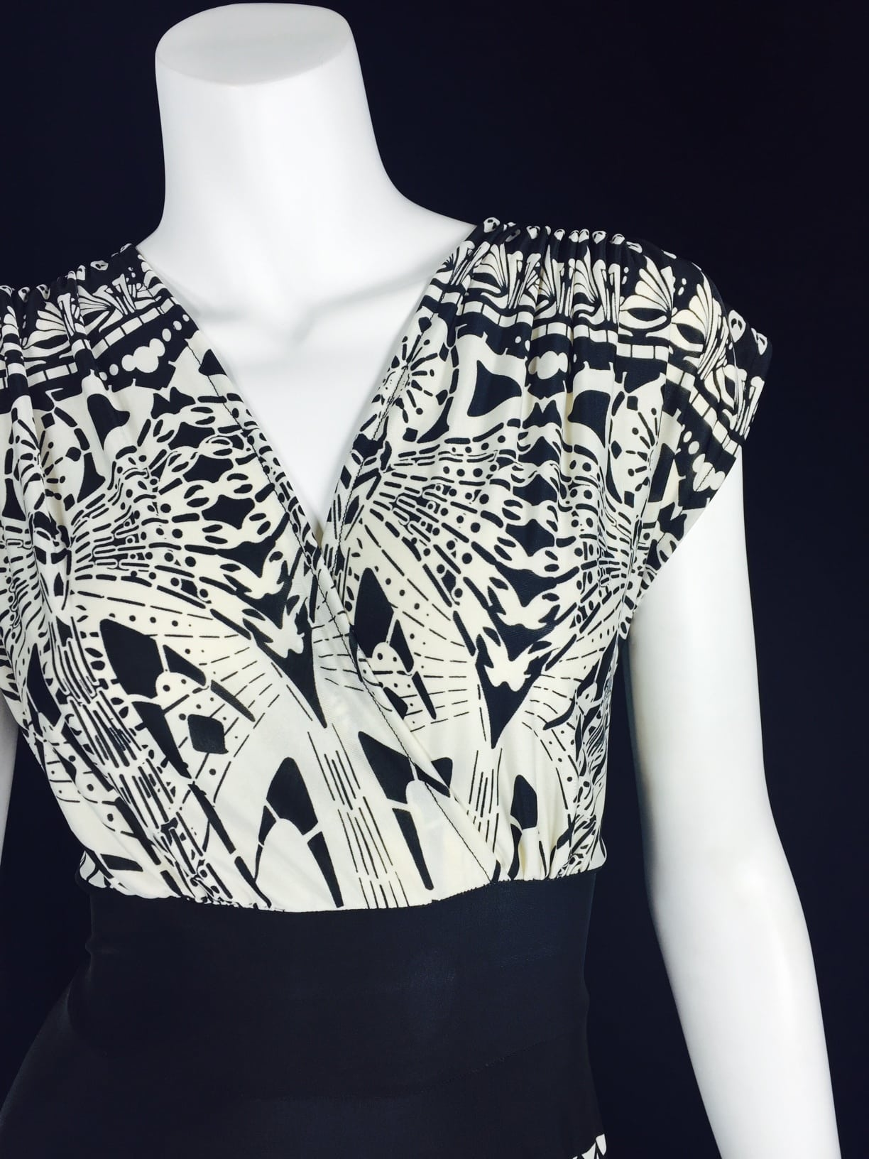 Art Nouveau Black and White Knee Length Veronica Lake Dress - Front Detail