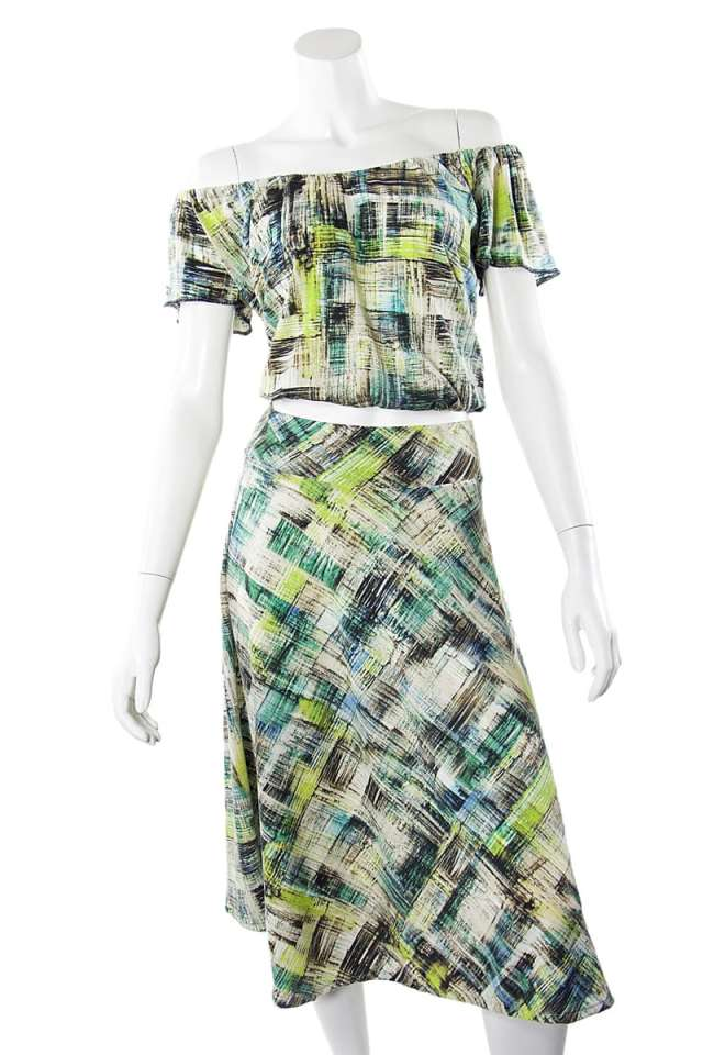 Green Checked Off the Shoulder Top and Skirt