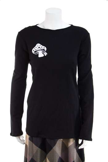 Black long sleeve top with mushrooms