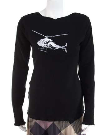 Black Long Sleeve Top with HelicopterBlack Long Sleeve Top with Helicopter