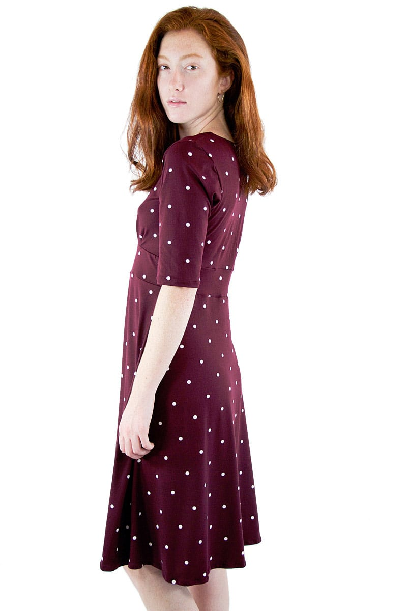 Wine Dot Cleopatra Midi Dress