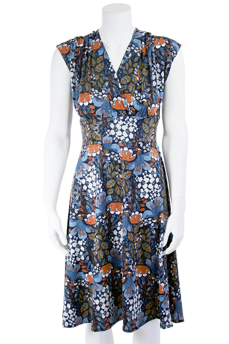 Fall Floral Veronica Lake Midi Dress