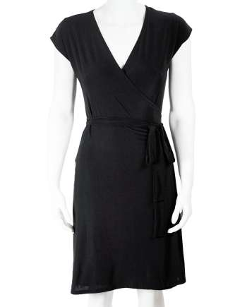 Black Sleeveless Wrap Dress