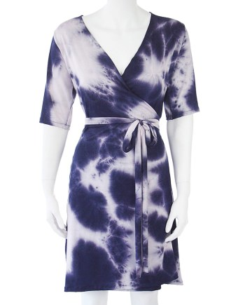 Blue Tie-Dye Wrap Knee Length Dress