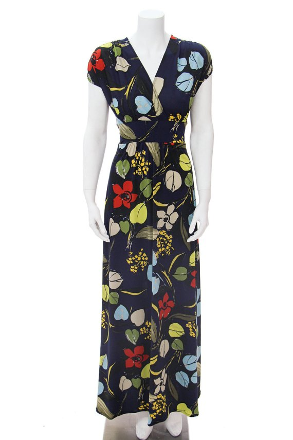Veronica Lake Maxi Navy Leaves & Branches