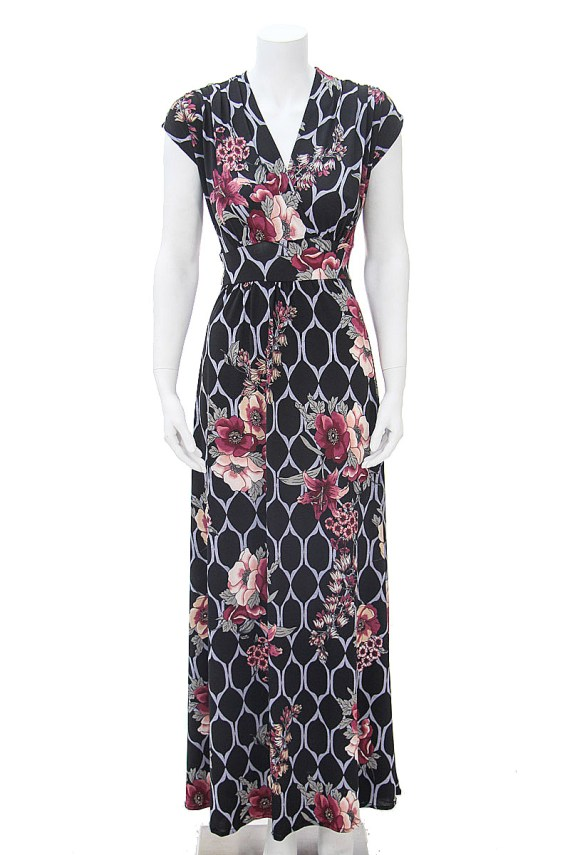 Black Floral Lattice Long Veronica Lake