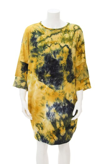 Yellow Tie Dye Dolman Sleeve Dress