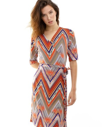 Vintage Inspired Zig Zag Wrap Dress