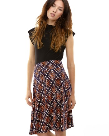 Orange Dot Navy Diamond Cleo Skirt
