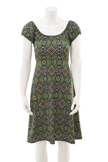 Green Goddess Peasant Dress