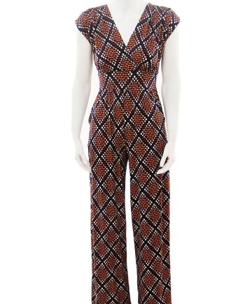 Orange Dot Navy Diamond Jumpsuit