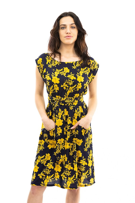 Black and Gold Floral Belted Blouse Dress