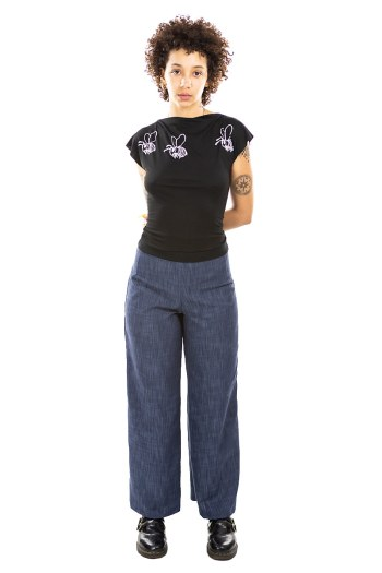 Blue Denim High Waist Pants