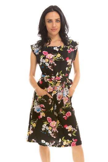 Portrait Botanical Belted Blouse Dress