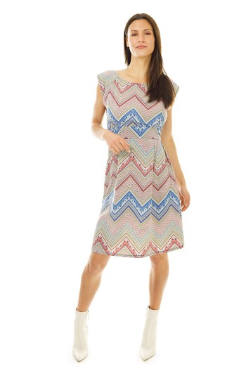 Zig Zag Stretch Belted Blouse Dress