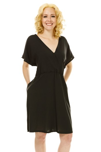 Black Cross Over Tunic Dress