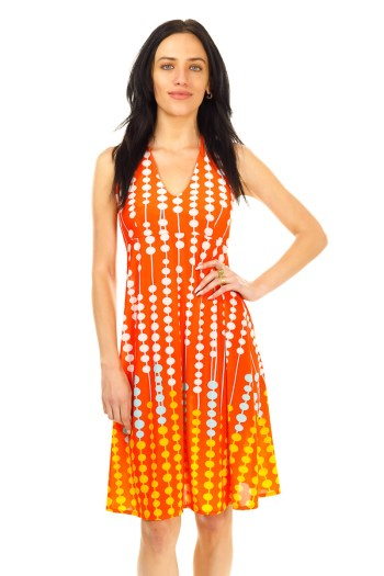 Orange Abacus Halter Dress