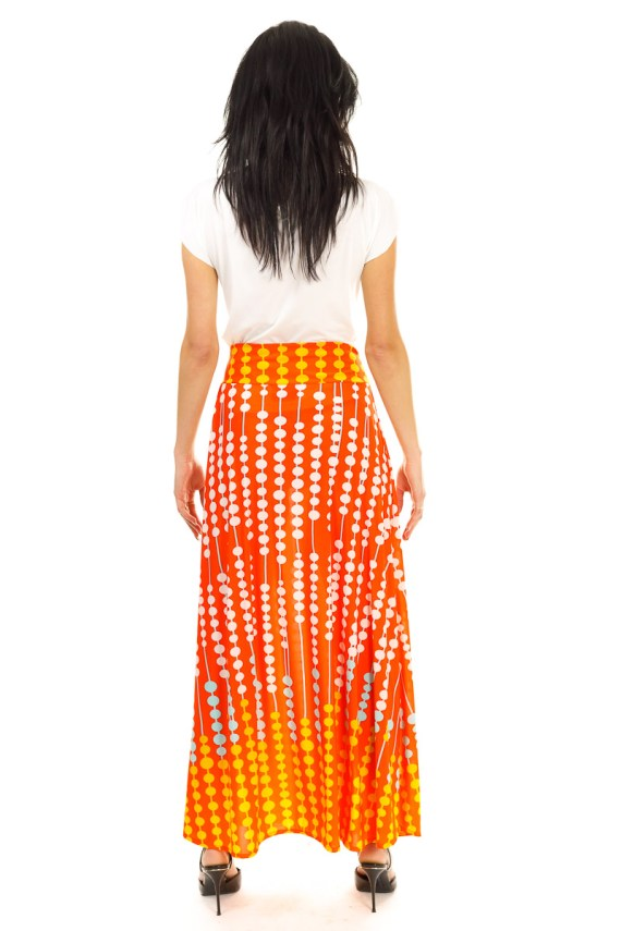 Orange Abacus Maxi Skirt