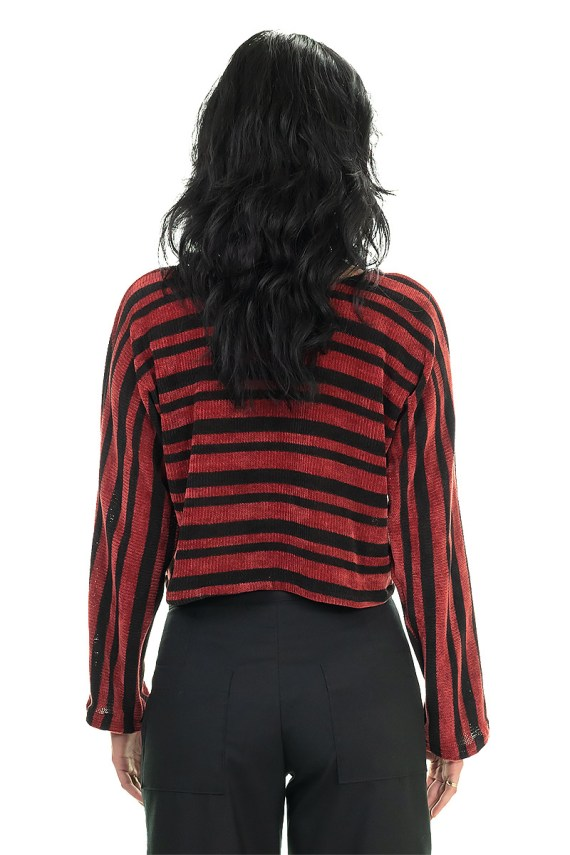 Red Striped Cozy Crop Top
