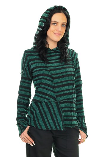 """Green Striped Cozy """"Stitched"""" Hoodie"""