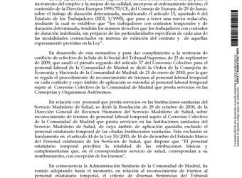 Madrid regula el reconocimiento de trienios al personal estatutario temporal del SERMAS