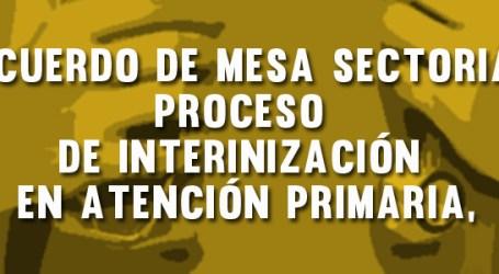 Acuerdo de Mesa Sectorial sobre criterios de proceso de interinización en Atención Primaria, incluidas categorías de informática. El proceso no abarca a todos los eventuales de más de dos años y se inicia en dos fases