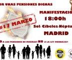 Manifestación Por unas Pensiones Dignas. Sábado 17 de marzo a las 18:00 horas. SOL