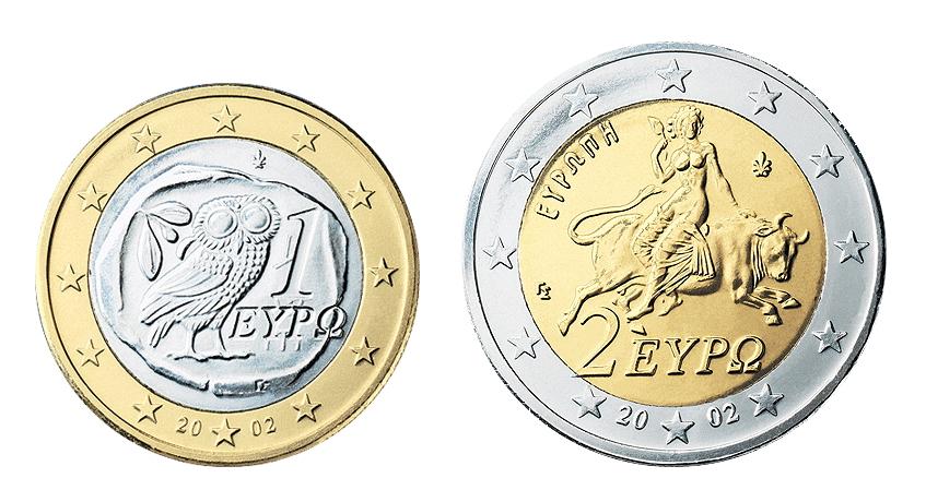 ギリシャの1ユーロ硬貨(左)と2ユーロ硬貨(右)。 ユーロ硬貨は加盟各国が独自の図案を使用