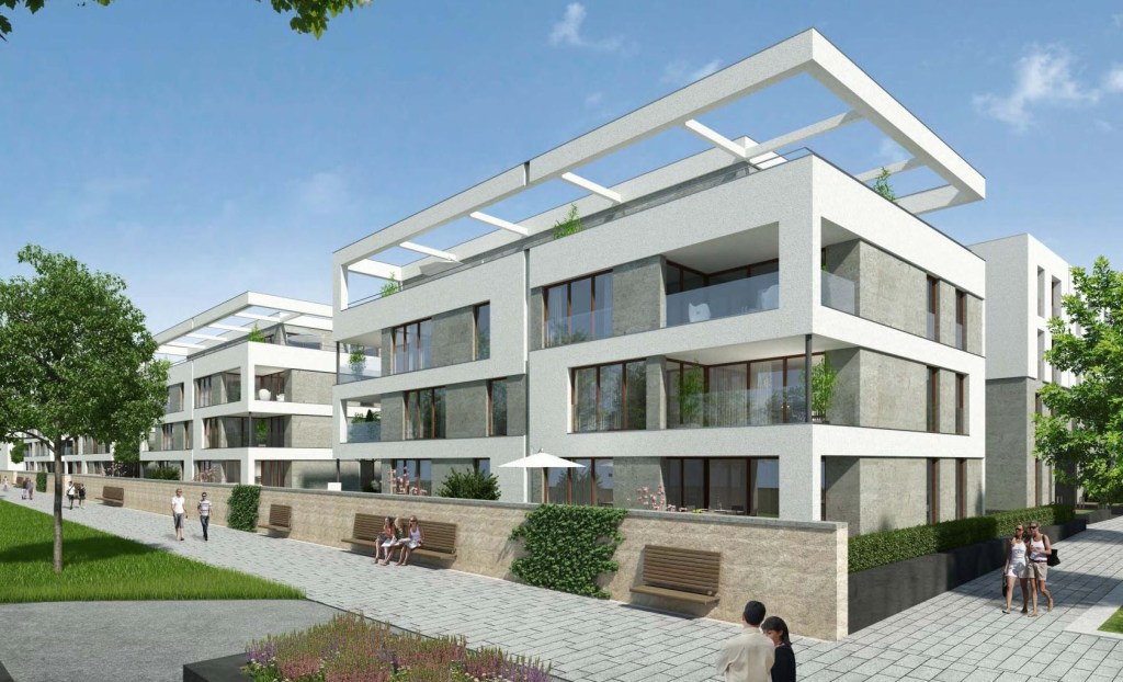 ハイデルベルク・バーンシュタットの低層住宅群(完成予想図)。これらもパッシブハウス基準で建設。出処:EGH